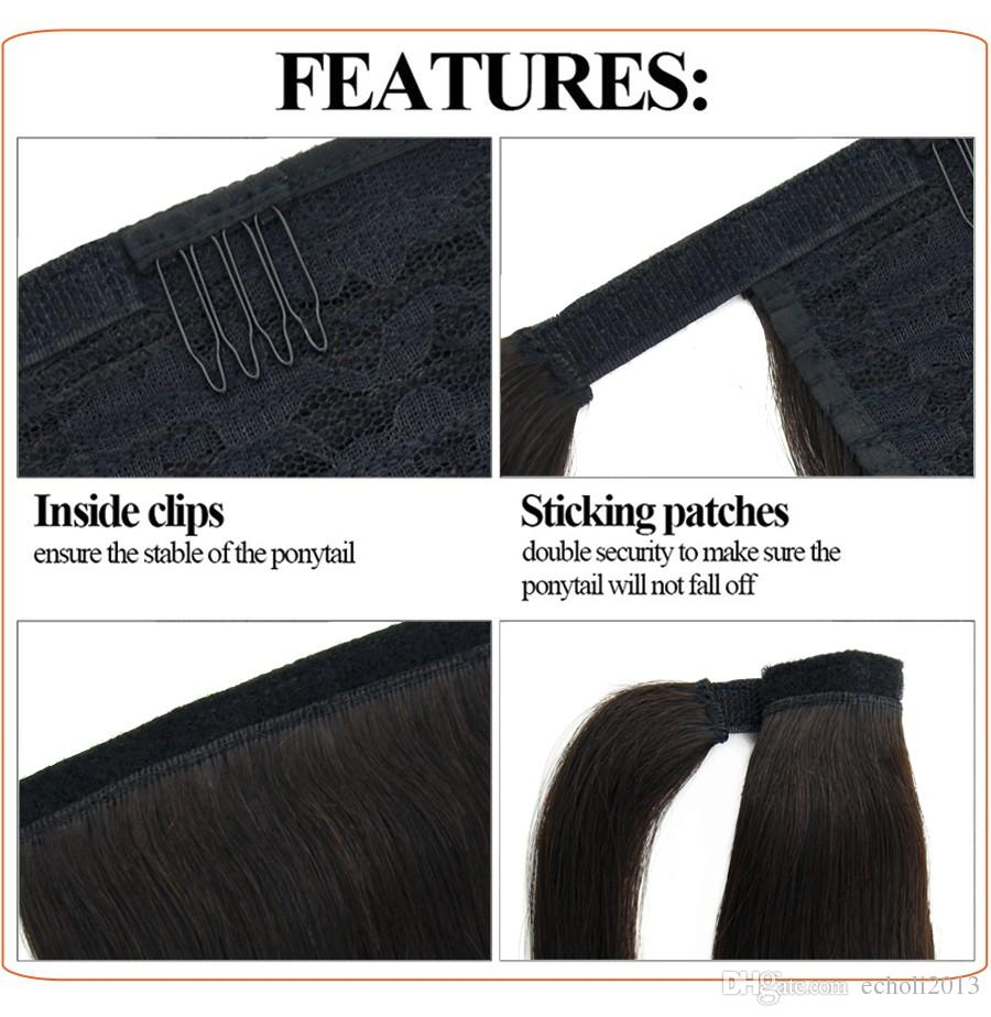 long high wavy curly brazilian human hair ponytail natural hair,1b clip in wavy black hair 100% real hair wrap around ponytails