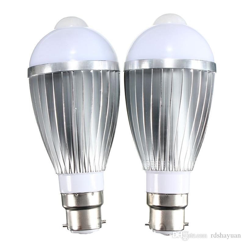 PIR Infrared Sensor Light Bulb B22 9W 5730 SMD Auto Smart Motion Body LED light Lamp Bulb Pure Warm White 85-265V