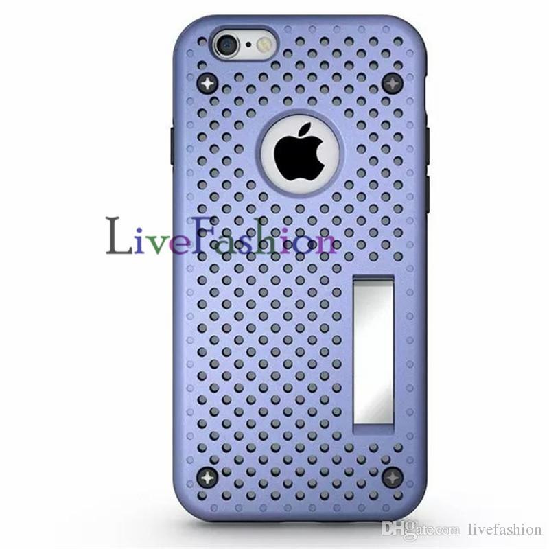 Hard Mesh Heat Radiating Phone Case Skin With Kickstand Holder Stand Hard TPU PC Back Cover For Iphone 6 6S Plus