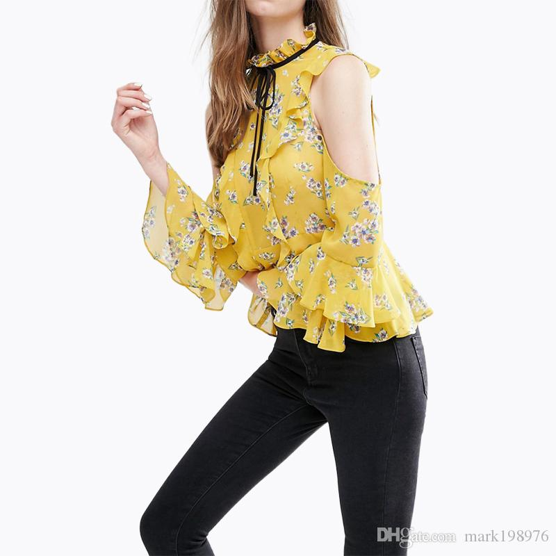 ccdcccd05e0 2019 2017 Summer Women Shirt Fashion Floral Printed Blouse Personality  Wraps OL Shirts Slim Frill Sleeve Blouse Female ST036 From Mark198976