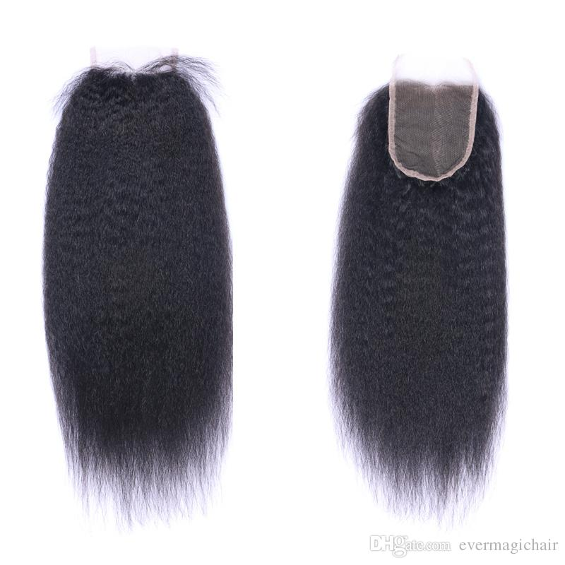 4x4 Lace Closure Kinky Straight Natural Color Black Free Part Middle Part 100 Human Hair Brazilian Virgin Hair No Tangle