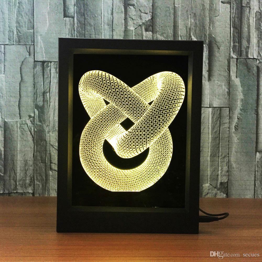 3D Love Knot LED Photo Frame IR Remote 7 RGB Lights Battery or DC 5V Factory Wholesale Dropship