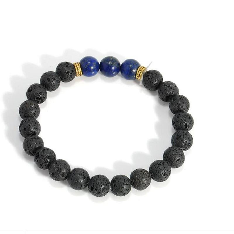 Vulkan Armbänder 2018 neue Aussage Schmuck Mode Großhandel Natürliche Lava Vulkan Stein Farbe große Perlen Armbänder Armreifen für Frauen
