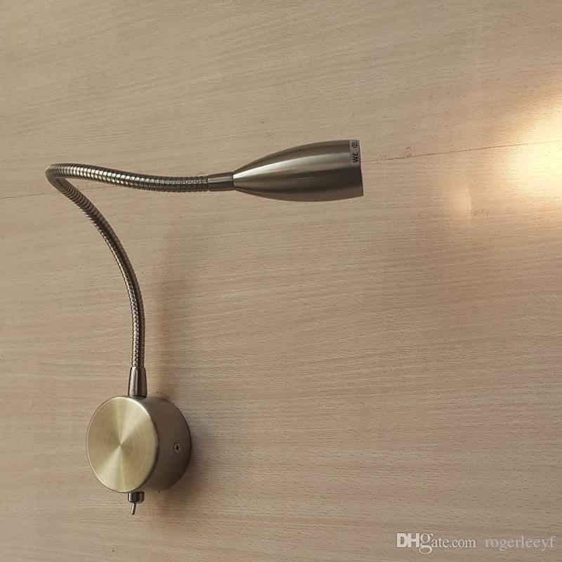 Topoch Flexible Gooseneck Wall Light Hard Wired on-off Switch Nickel Finish Narrow Beam Firm Directional Neck LED 3W for RVs Boats House