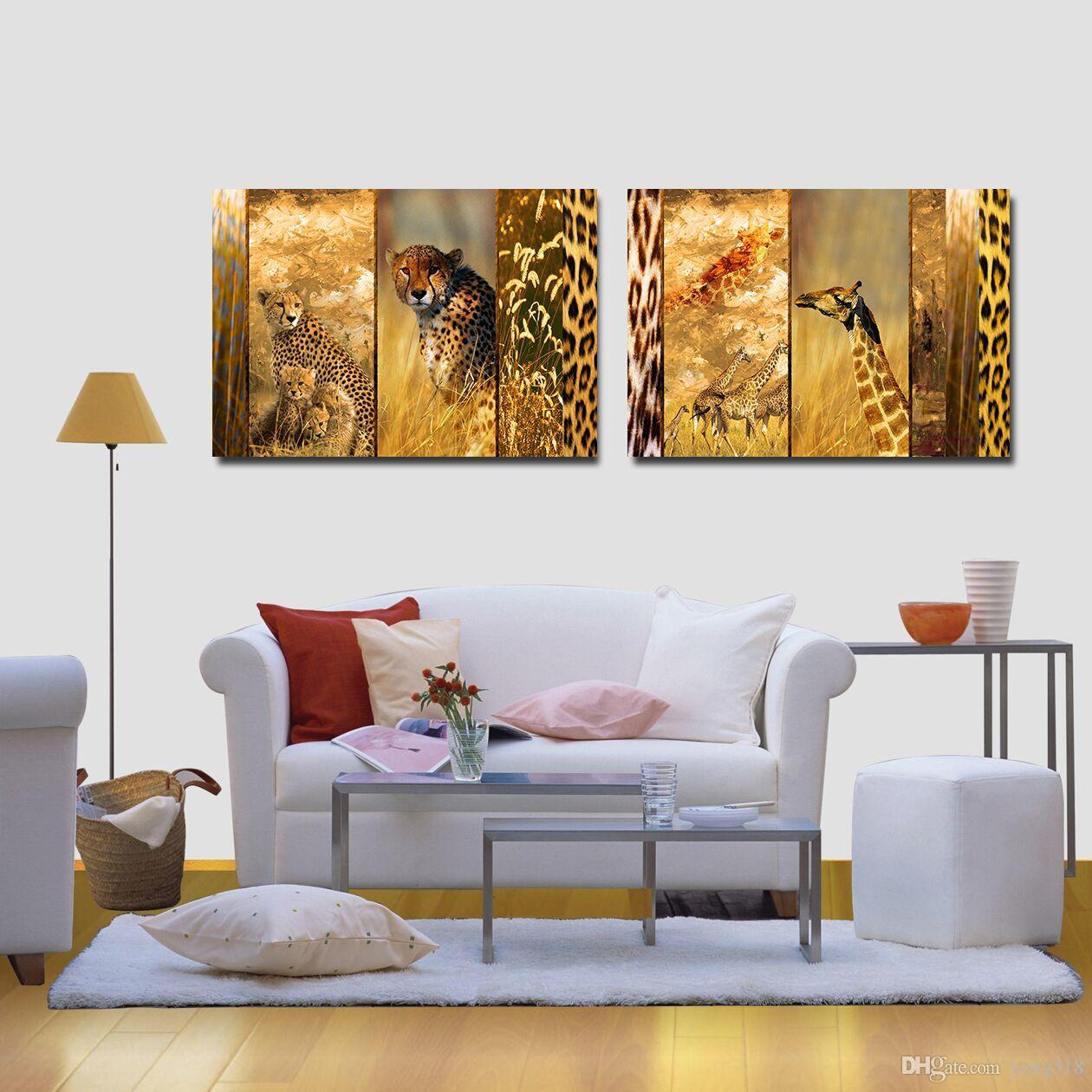 Leopard giraffe Leinwand Ungerahmt Foto Abstrakt Modern Home Decor Wandkunst Leinwand Safari Park Tier Bild Drucken Malerei