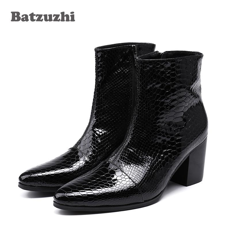 7cm High Heels Men Boots Pointed Toe Black Leather Boots
