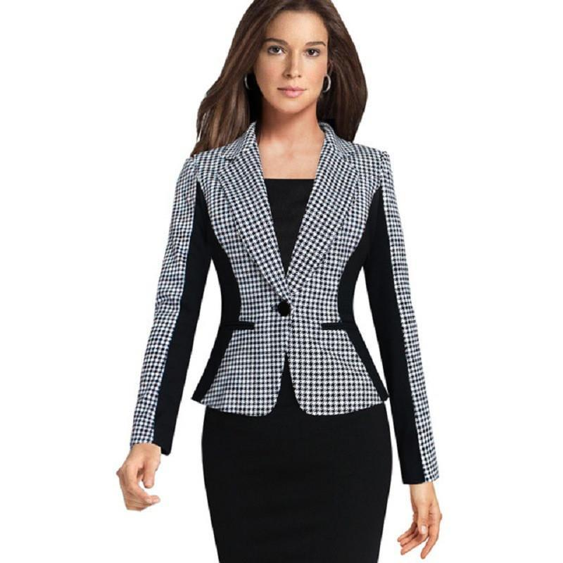 Autumn New Plus Size Women Suit Blazer Houndstooth Stitching Female