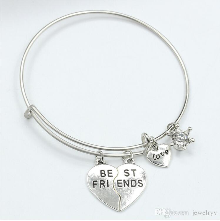 Hot Sale Broken Heart Best Friends Bracelet Alloy Love Heart Bangles Wristband Jewelry Friendship Gift for woman and man