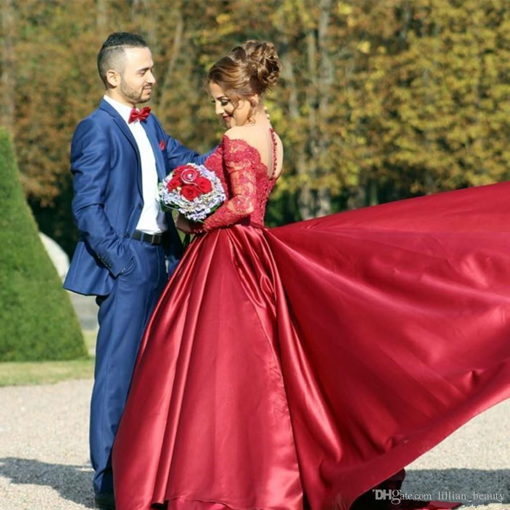 Red Lace Prom Dresses Ball Gown Long Sleeve Party Dress Off Shoulder ...