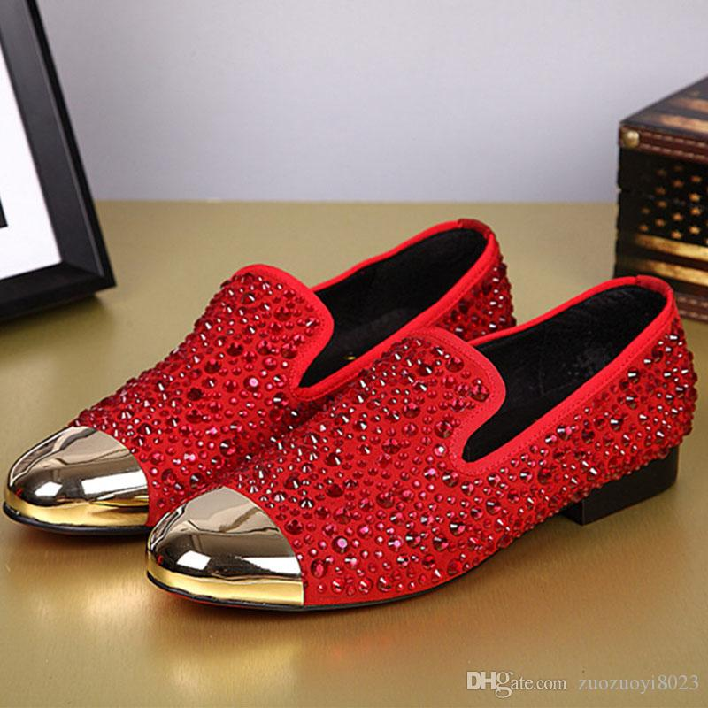 New Gold Toe Black/Red Crystal Men Loafers Men Fashion Leather ...