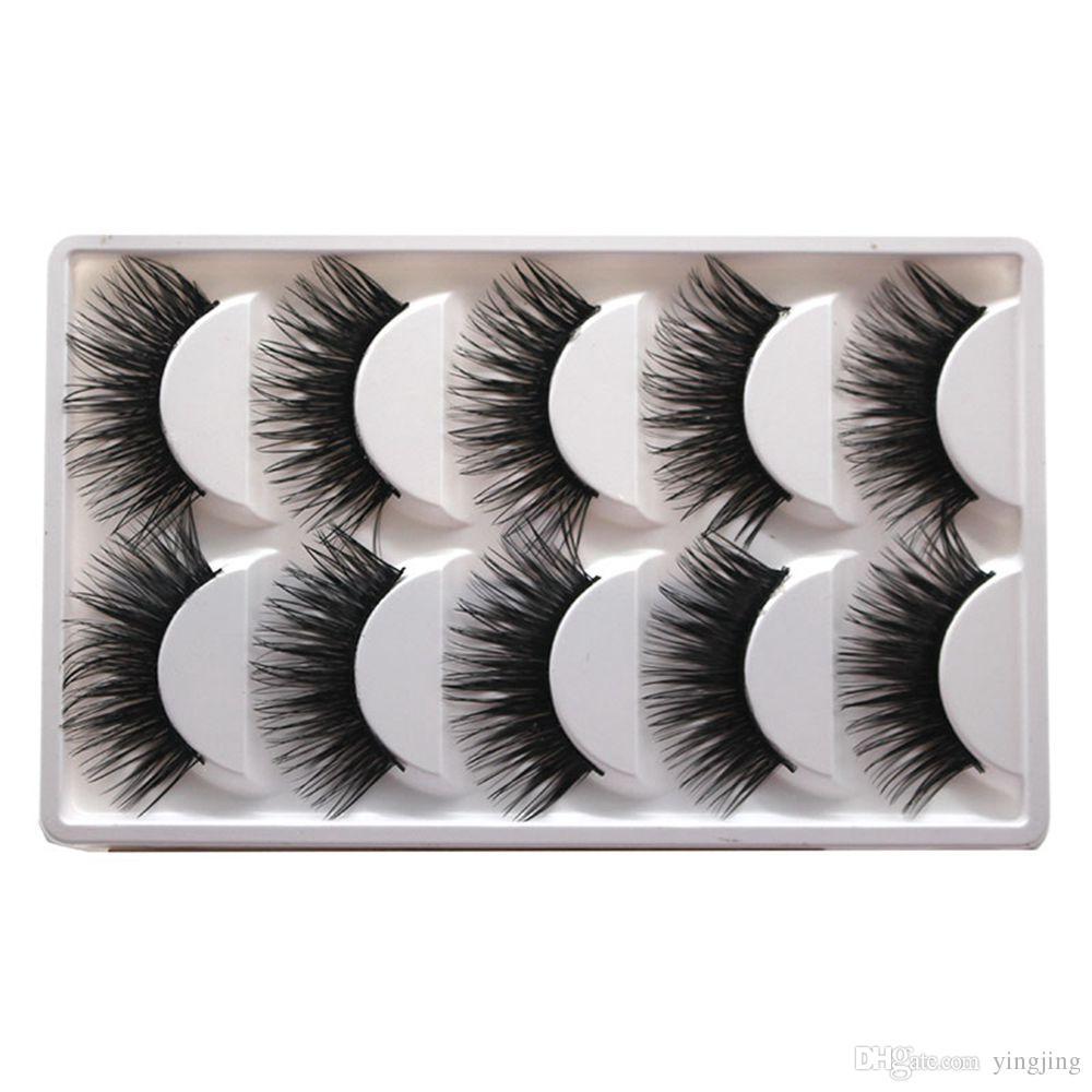 Box Extra Long Thick Cross Natural False Eyelashes Handmade Fake Eye