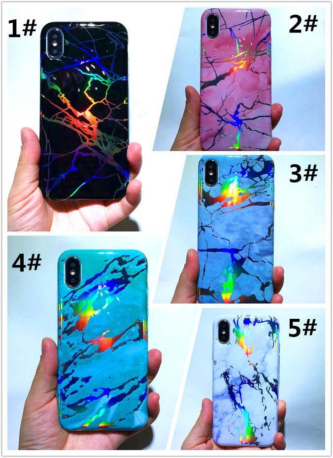 Glänzende TPU Laser-Abdeckung Holo Telefon Chrome Marmorhülle für das iPhone 12 11 Pro XS Max XR X 6 7 8 Plus