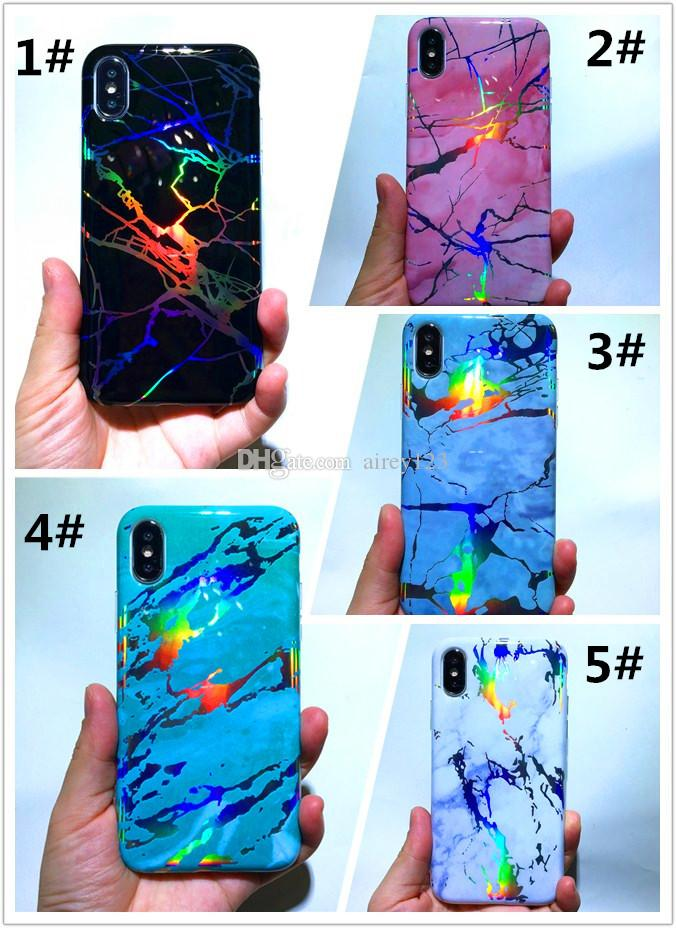Shining TPU Laser Cover Holo Phone Chrome Marble Case for iPhone 12 11 Pro XS Max XR X 6 7 8 Plus