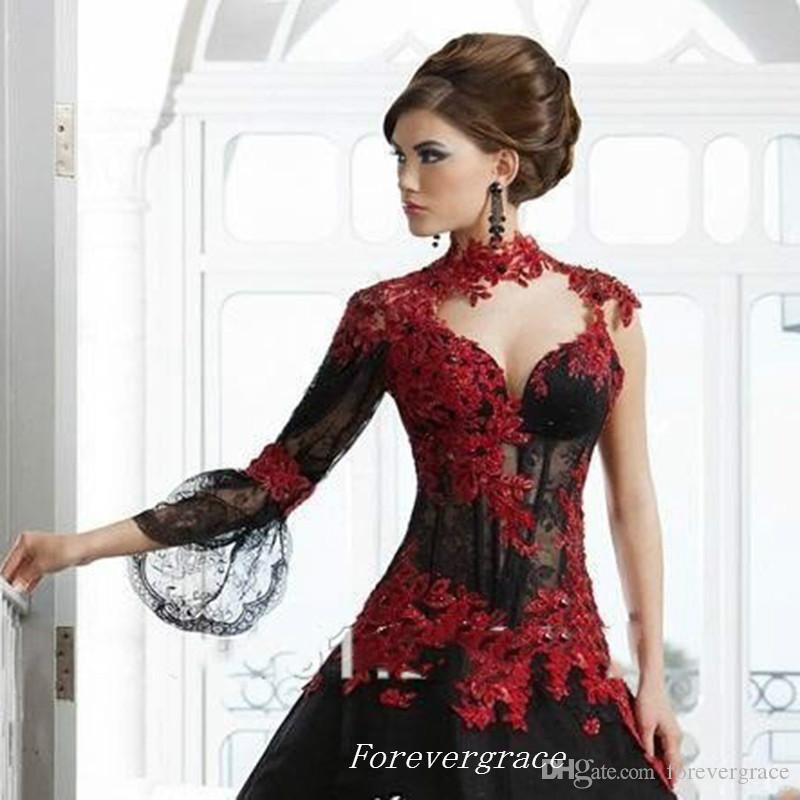 Vintage Victorian Gothic Masquerade Arabic Wedding Dress High Quality High Neck Lace Appliques With Sleeve Bridal Gown Custom Made Plus Size