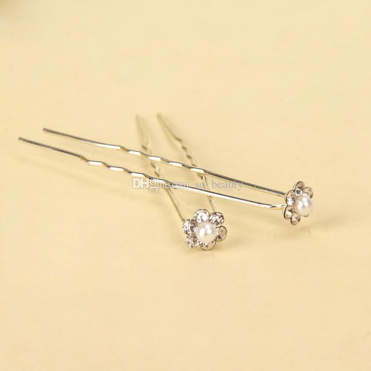 10 Stücke Faux Perle Strass U-förmigen Haarnadeln Hochzeit Braut Haar Prom Pins Blume Mädchen Pin kleine Größe Multi Farbe
