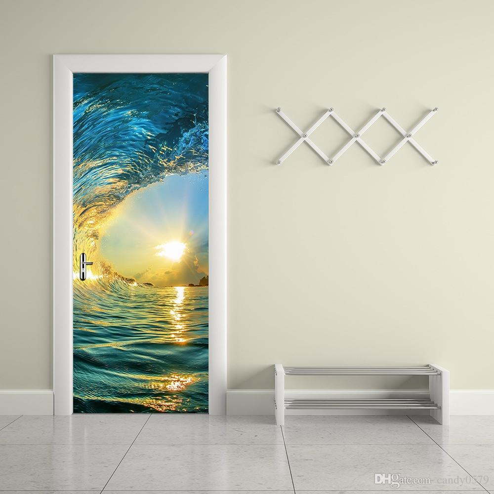 The Sea And Sunset Door Stickers 3d Pvc Self Adhesive Wallpaper Waterproof  Door Decoration Sports Wall Stickers Star Stickers For Walls From  Candy0579, ...