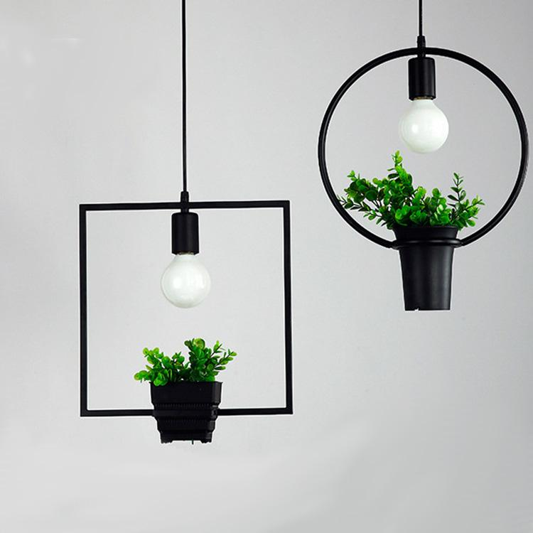 hanging lamp geometric plants pot iron square round suspension pendant light nature designer for decor restaurant cafe lighting pendant light lighting - Hanging Lamp