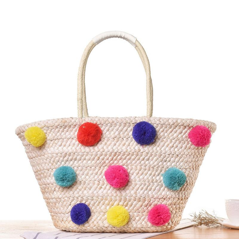 Colorful Wool Ball Pom Design Summer Beach Bags Basket Chic Woven ... 63bf02b2e5404