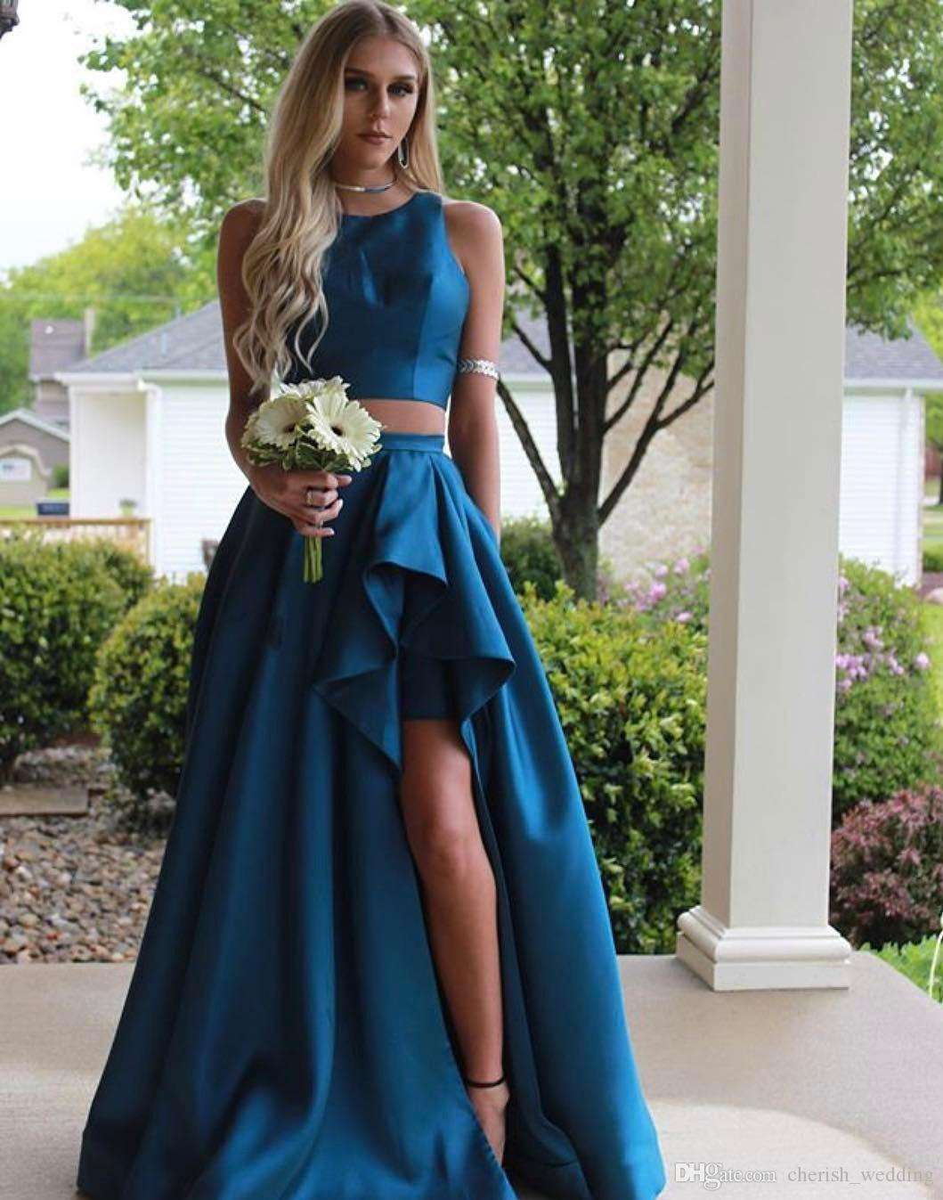 149dd7a87da A Line Prom Dresses Jewel Neck Frills Satin Two Pieces Formal Evening Dress  High Split Floor Length Empire Backless Prom Party Gown Prom Dress Website  Prom ...