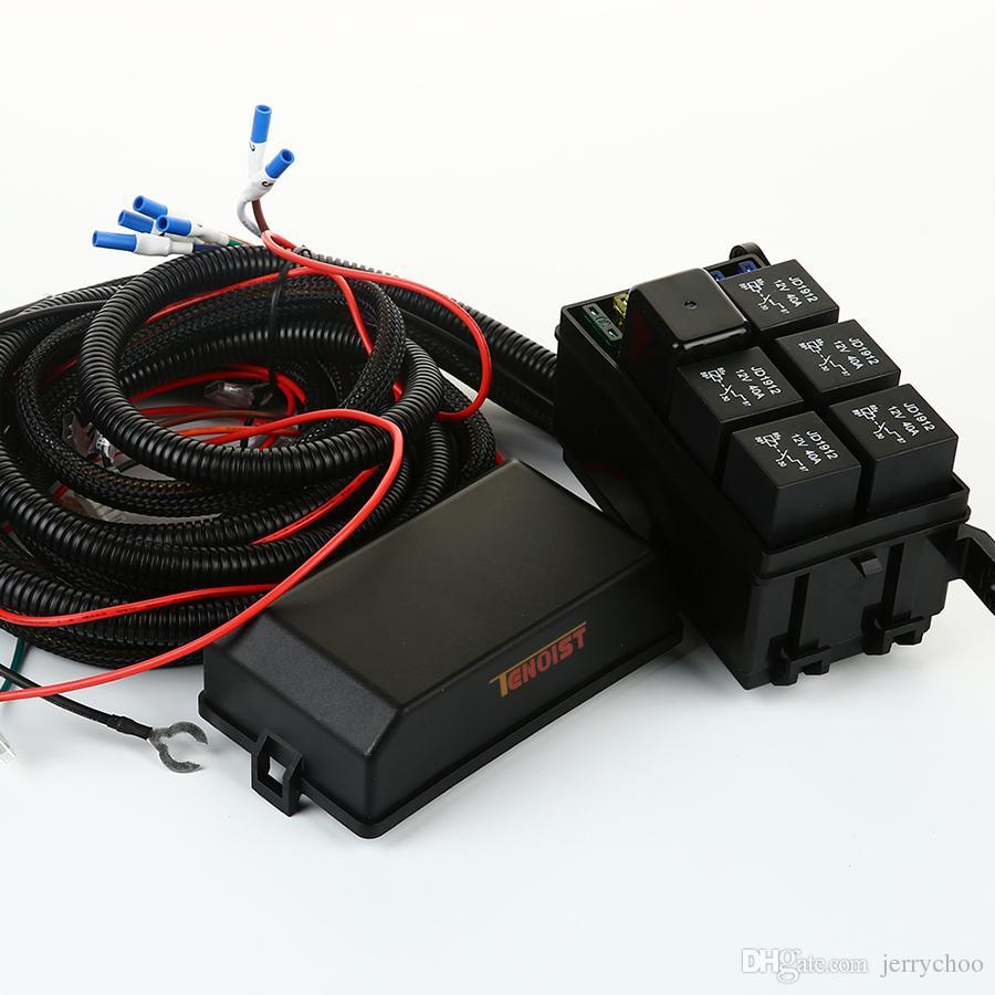 Alta qualità A-Pillar Facile da usare Sistema elettronico a 6 relè con 4 pulsanti di commutazione auto Wrangler JK Soluzione tutto in uno con cavo 12V 24 V