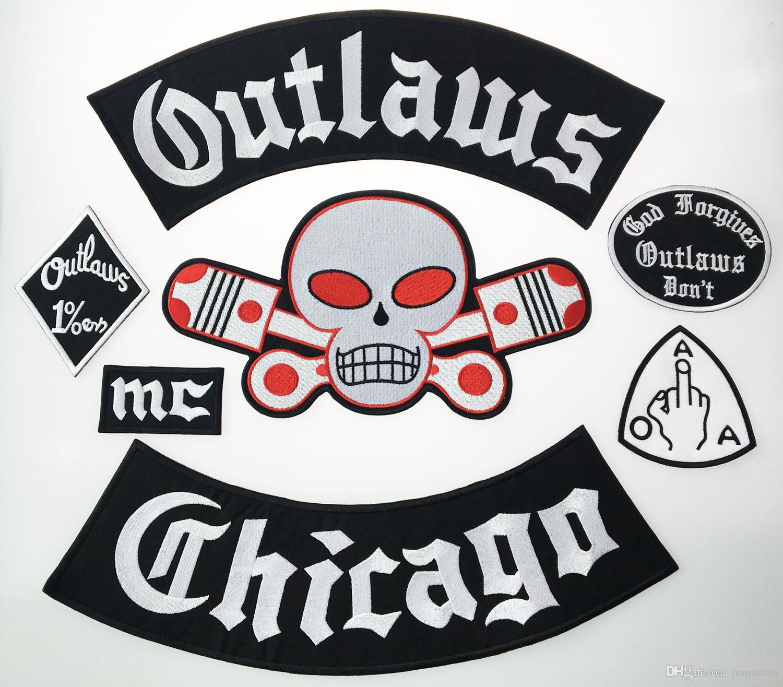 Büyük indirim! Outlaw Chicago Bağışlar İşlemeli Demir On Yamalar Büyük Boy Tam Geri Ceket Rider Biker Yama Ücretsiz Nakliye için