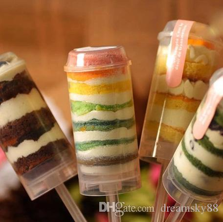 Venda quente de Plástico Food grade Push Up Recipientes Pop empurre Bolo pop recipiente do bolo para o Partido Decorações Forma redonda ferramenta