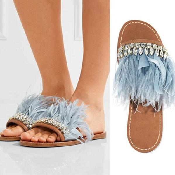 054efde97 Newest Summer Sandals Women Slippers Flat Heels Crystal Fringe Feather  Decor Slides Flip Flop Cozy Tassel Rhinestone Beach Slippers Nude Shoes  High Heel ...