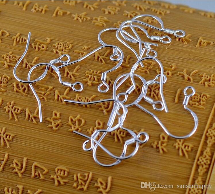 500 stks Hot 925 Sterling Silver Earring Findings Fishwire Haken Sieraden DIY 15mm Vis Haak FOK Coil Oor Draad