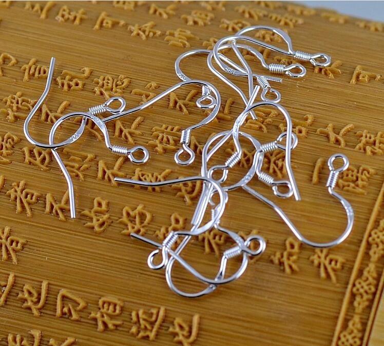 caldo 925 risultati dell'argento sterlina argento Fishwire ganci gioielli fai da te 15mm pesce gancio Fok bobina filo orecchio