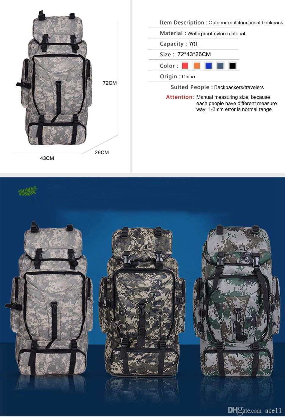 30b5ff0043 YUETOR 70L Men Camping Waterproof Travel Military Army Bags Outdoor ...