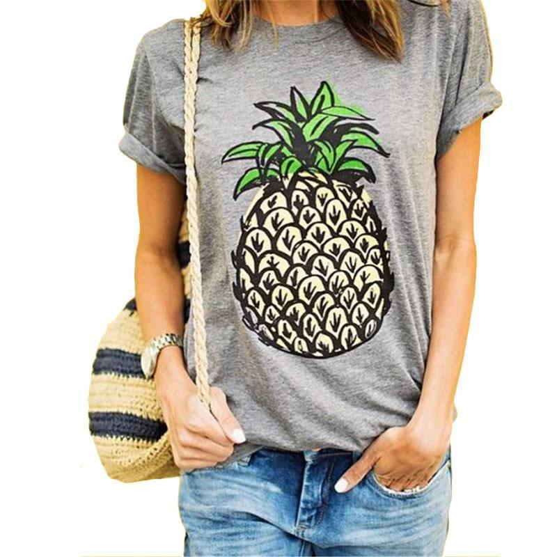 dd7083eb8c8 2019 2017 Apparel For Women Fashion T Shirts Women Summer Pineapple Fruits  Print Short Sleeve O Neck Cotton Club Casual Tops Tees From Propcm