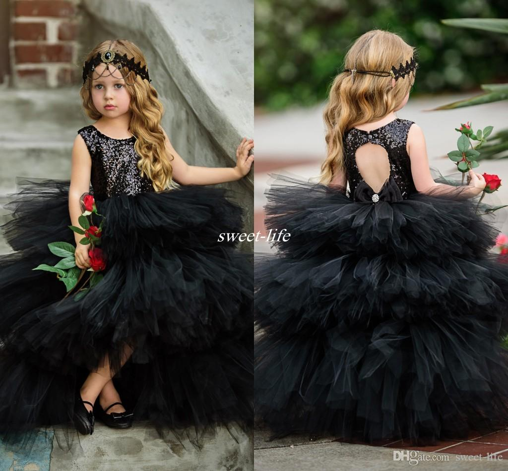 Black Ball Gown Flower Girls Dresses Puffy Tulle Sparkly Sequins