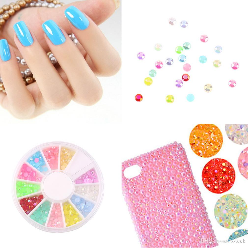 1 Set/ approx. 300pcs Cute Mixed Glitter 3D Nail Art Tip Stud Decoration Stickers DIY Accessories