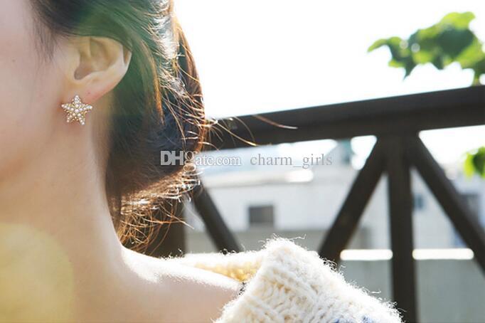 2017 뜨거운 판매 여자 / 여자 럭셔리 황금 다이아몬드 진주 펜타그램 귀걸이 크리스탈 진주 불가사리 귀걸이 /