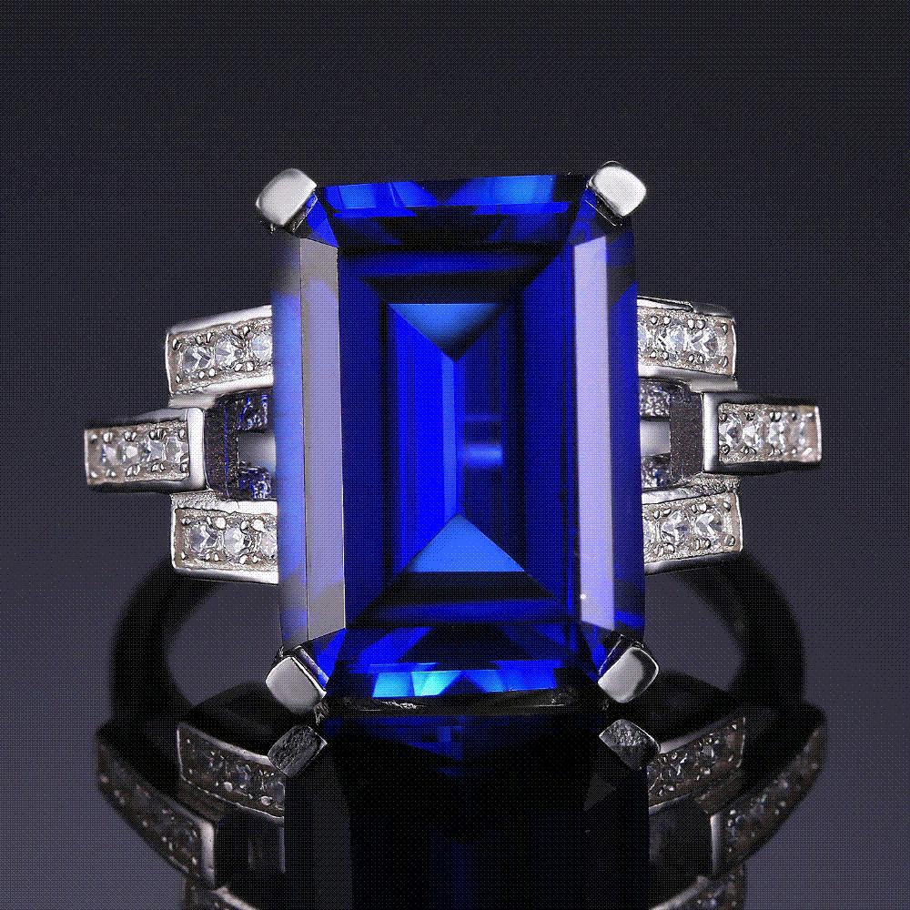 Jewelrypalace luxury emerald cut created blue for Man made sapphire jewelry