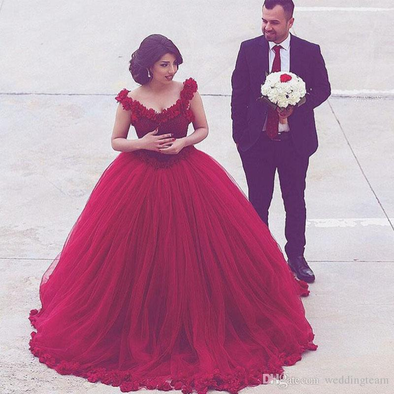 Tulle Overskirt Wedding Dresses Mermaid Bateau Neck Simple: Lovely Princess Ball Gown Burgundy Wedding Dresses V Neck