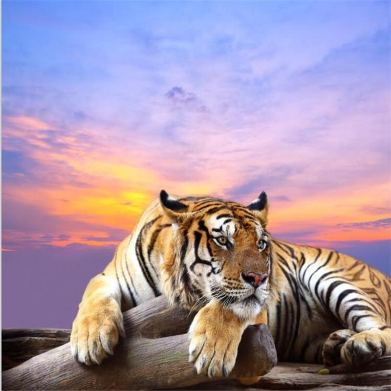 Wholesale-Custom photo wall paper 3D tiger landscape mural for living room sofa TV KTV bar background large mural wall wallpaper