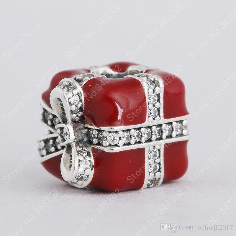 New Clear Crystal Pave Bow Red Enamel Christmas Gift Box Charms Authentic 925 Sterling Silver Fine Jewelry For Women Bracelet DIY Making