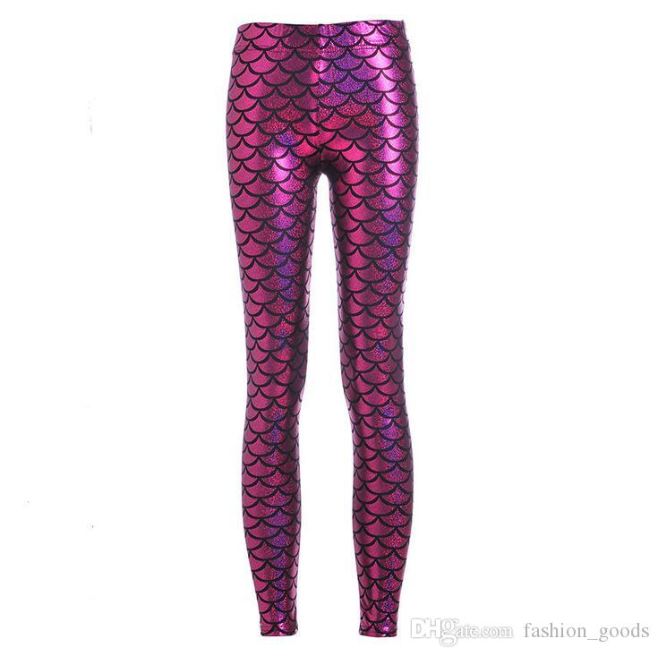 New arrival Hot Pants printed mermaid fish scales fish pattern shiny nine points Leggings LW047 Women's Leggings