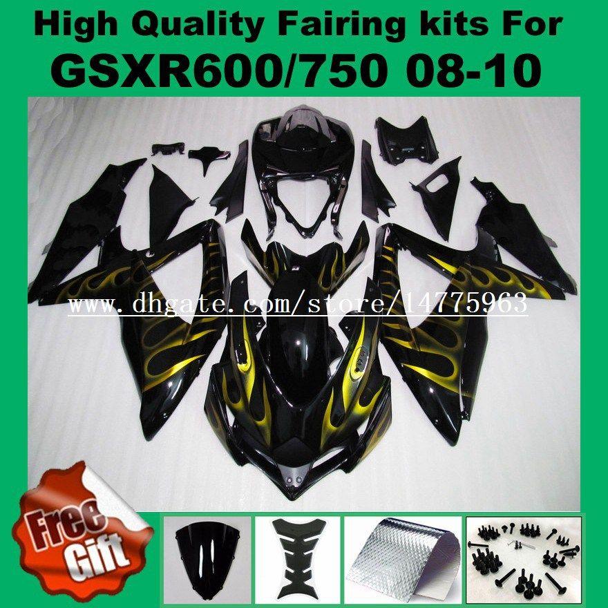 Injection Fairing for 2008 2009 SUZUKI K8 K9 GSXR600 GSXR750 08 09 10 GSX-R600 GSX-R750 2008 2009 2010 gold flame black fairing kits +9gifts