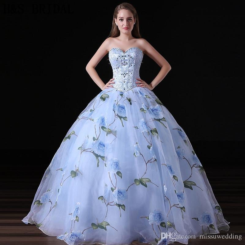 Organza Ball Gown Prom Dresses Pattern Flowers Blue Sequins Beaded