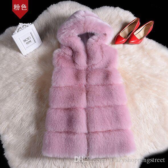Abrigo de invierno Escudo de imitación de alta calidad de plata de piel de zorro con capucha chaleco raya de la manera de mediano a largo chaleco de gran tamaño de las mujeres Outwear