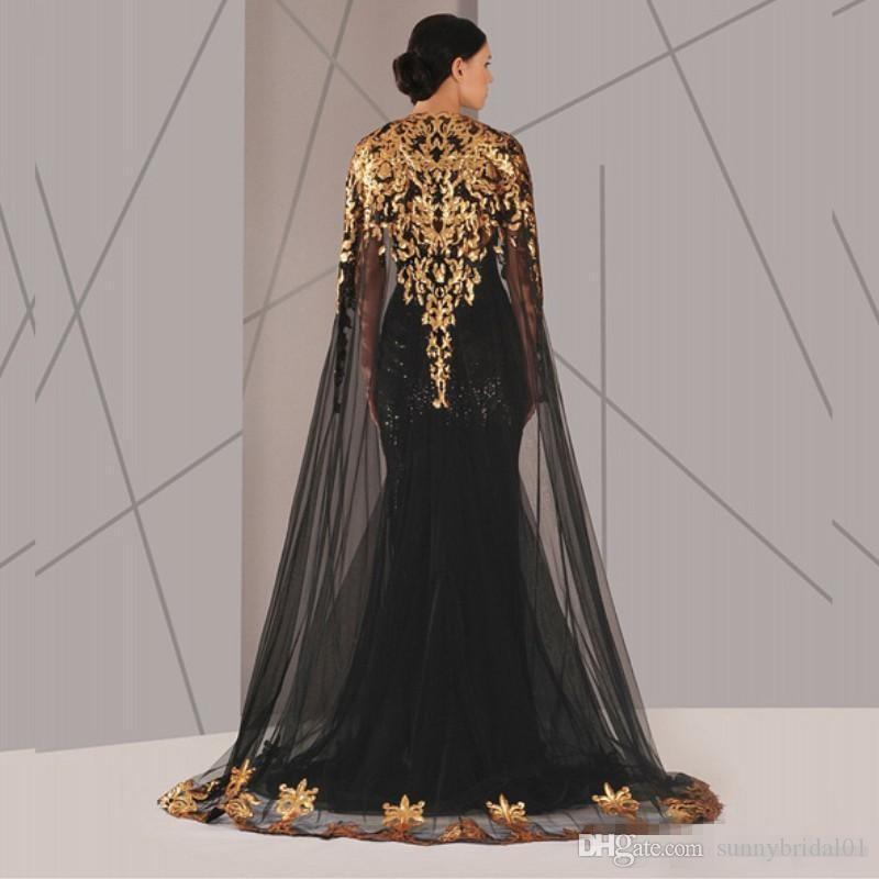 Schwarz Arabisch Muslimischen Abendkleider Tüll Mantel Gold und Schwarz Pailletten Rundhalsausschnitt 2017 Plus Size Mermaid Formal Wear Lange Pageant Abendkleid