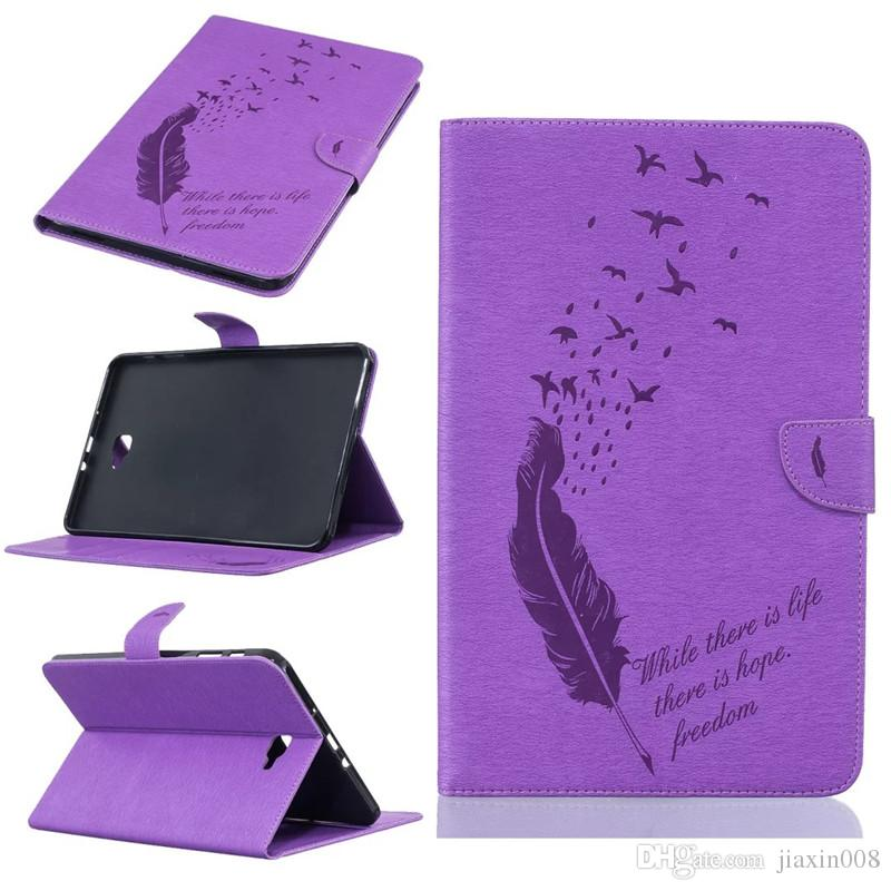 For Samsung Galaxy Tab A 10.1 T585 T580 Tablet Leather Case Filp Cover Wallet Stand With Card Slot Embossed Feather bird Desgin