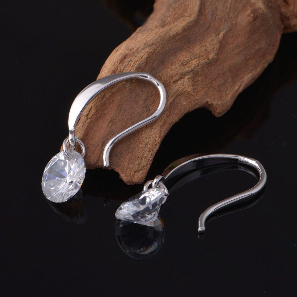 2015 nuevo diseño 925 sterling swiss CZ pendientes de gota de diamantes joyería de moda hermosa boda / regalo de compromiso envío gratis