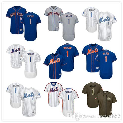 62a196eb9 ... 2017 Mens New York Mets Authentic Jersey 1 Mookie Wilson White Blue  Army Green Camo Flex ...