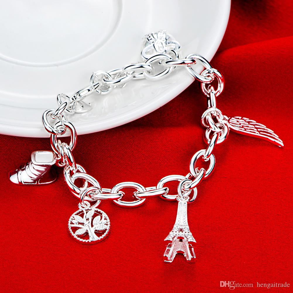 Бесплатная доставка Оптовая стерлингового серебра 925 покрытием Омаров Шарм браслеты LKNSPCH539