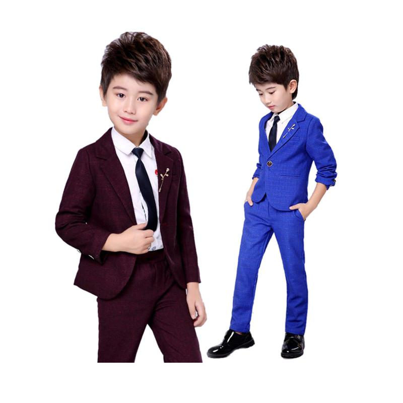 82a45dedd Causal Boy Blazer Tops Pants Set Gentleman Style Solid Clothes Set ...