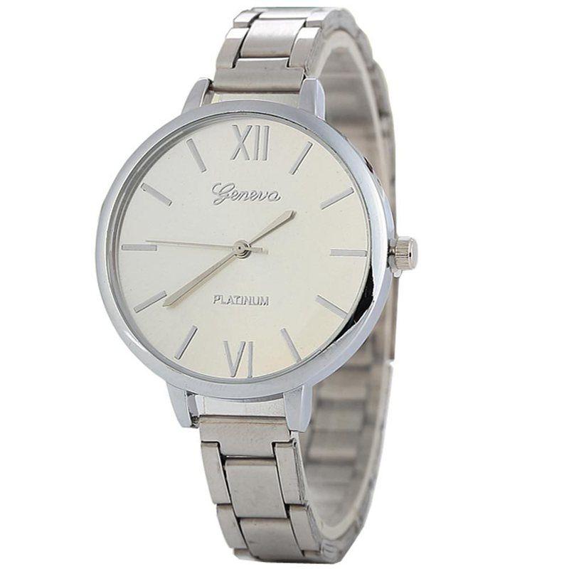 Wholesale fashion women ladies geneva alloy roman numbers watch casual thin metal bands bracelet lady dress quartz wrist watches