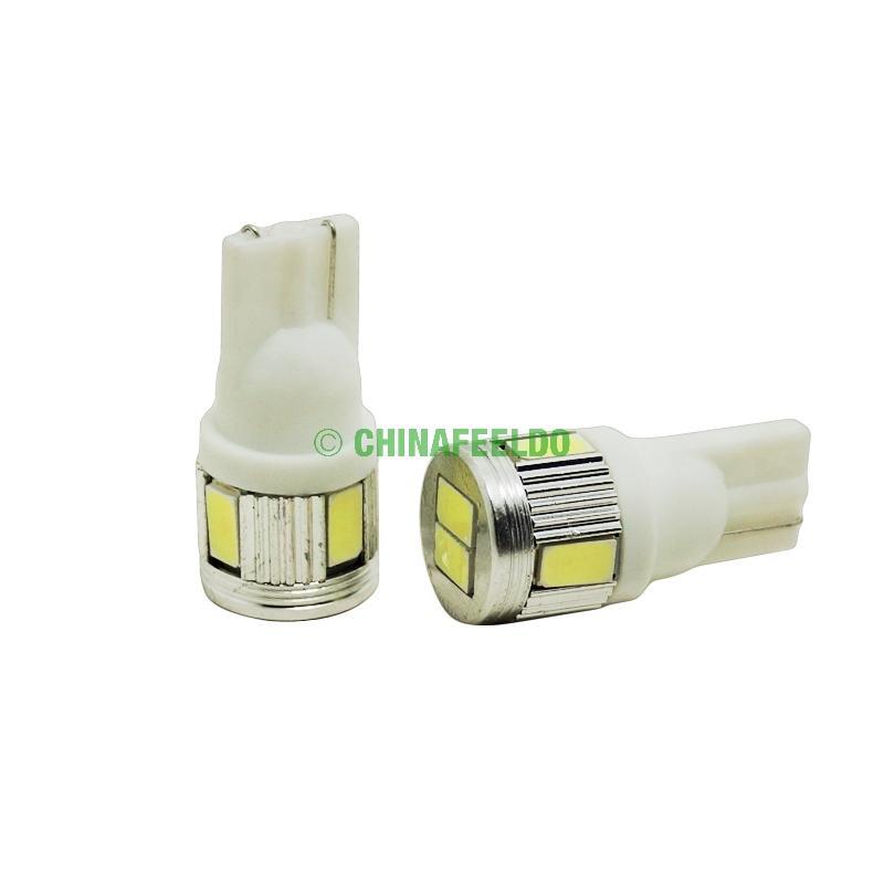 FEELDO 12V 3W Pure White T10 / 194 / W5W 6SMD 5630 Автомобильная лампочка # 3898